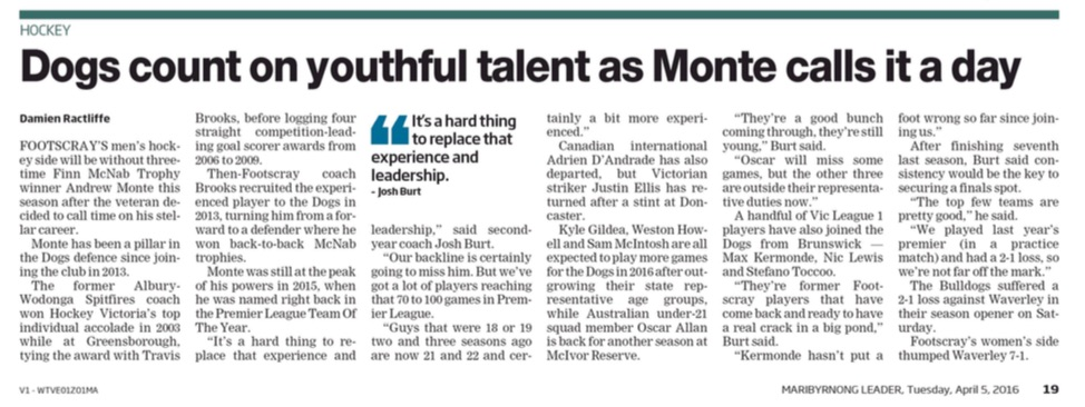 Dogs count on youthful talent as Monte calls it a day
