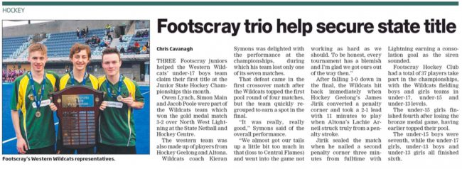 LEADER: Footscray trio help secure state title