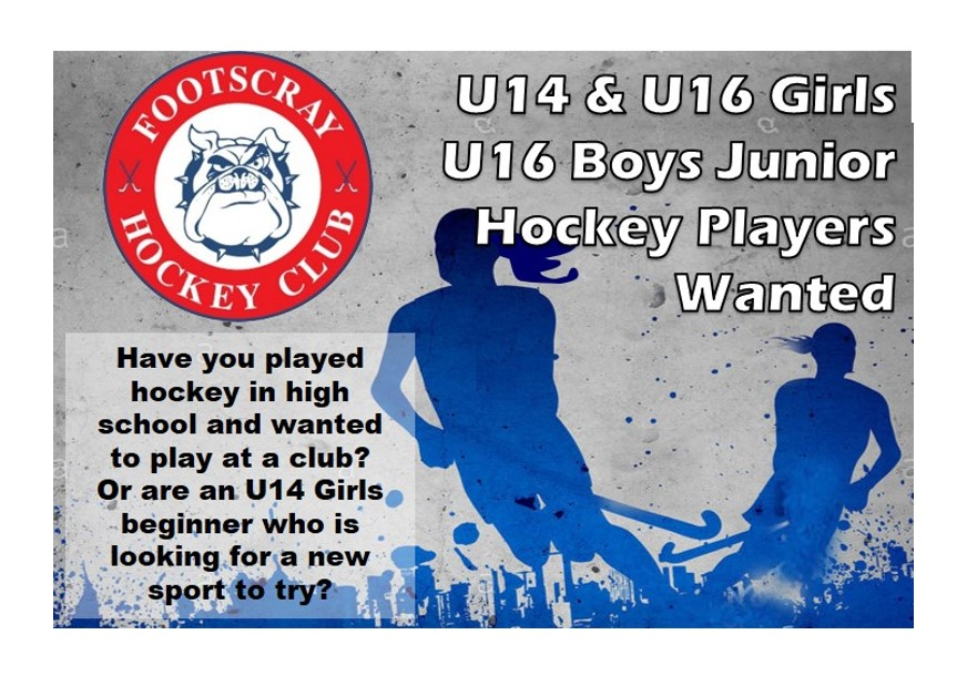 U14 & U16 JUNIOR PLAYERS WANTED | Footscray Hockey Club