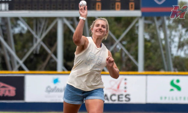 CARLY JAMES PITCHES AT ACES BASEBALL GAME