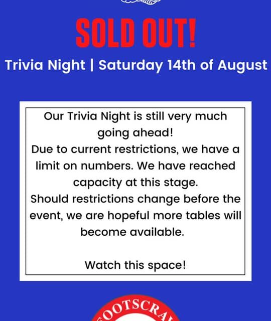 TRIVIA NIGHT – SOLD OUT!